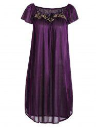 Embroidered Cap Sleeve Babydoll - AMETHYST