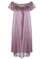Embroidered Cap Sleeve Babydoll - LIGHT PURPLE
