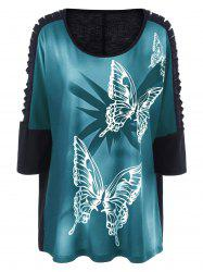 Plus Size Butterfly Print Ripped Long T-Shirt - GREEN 3XL