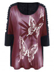 Plus Size Butterfly Print Ripped Long T-Shirt - BRICK-RED 3XL