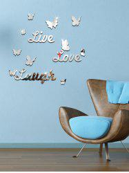 3D Butterfly Letter Acrylic Removable Mirror Wall Sticker - SILVER