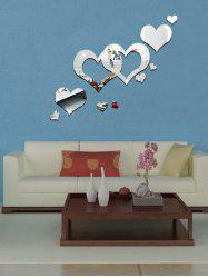 Acrylic Hollow Heart Removable Mirror Wall Art Sticker - SILVER