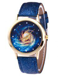 Faux Leather Strap Vortex Starry Watch -