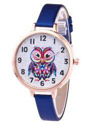 Faux Leather Strap Owl Glitter Watch