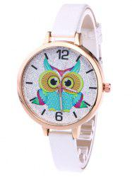Owl Faux Leather Strap Glitter Watch -