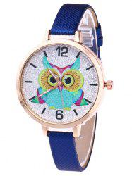 Owl Faux Leather Strap Glitter Watch
