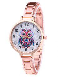 Alloy Strap Number Owl Glitter Watch