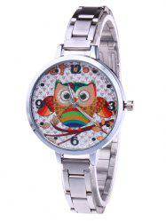 Cartoon Owl Glitter Number Watch