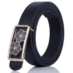 Double Flowers Buckle Faux Leather Wide Belt - BLACK