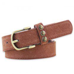 Retro Rivet Embellished Faux Suede Belt - COFFEE