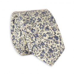 Vintage Floral Pattern Cotton Neck Tie - BLUE