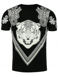 Tiger and Paisley Print T-Shirt