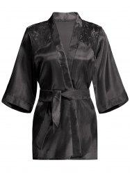 Lace Panel Sleep Wrap Robe - BLACK