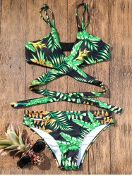 Plunge Strappy Bikini with Tropical Printed