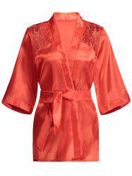 Lace Panel Sommeil Wrap Robe - Rouge