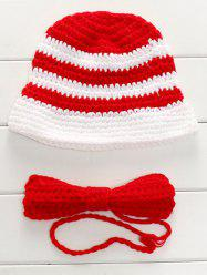 Handmade Knitted Sweater Baby Bow Tie and Stripe Hat