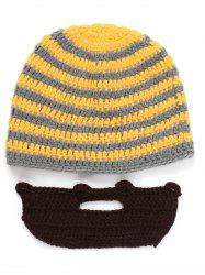 Winter Whimsy Manual Stripe Sweater Knitting Beard Hat Set