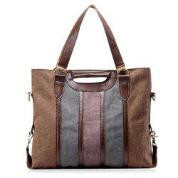 Casual Color Block Weekend Bag - COFFEE