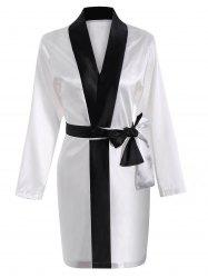 Color Block Wrap Robe - Blanc