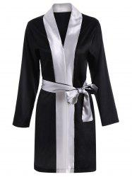 Color Block Wrap Robe - Noir