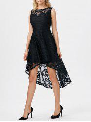 Lace High Low Swing Evening Party Dress - BLACK