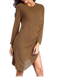 Slit Asymmetric Long Sleeve Jersey Knit Dress