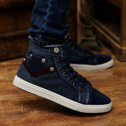 Suede Insert Metal Canvas Shoes - DEEP BLUE