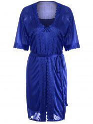 Scalloped Robe with Cami Babydoll - DEEP BLUE
