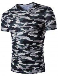 Short Sleeve Camo Army Print T-Shirt