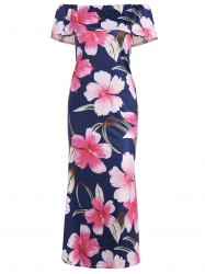 Off The Shoulder Ruffle Floral Maxi Dress - Multicolore