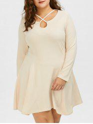 Plus Size Cutout Skater Dress with Long Sleeves