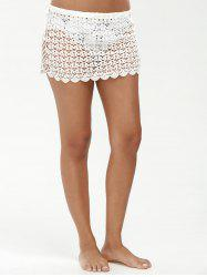 See Through Sarong Crochet Swim Skirt Cover Ups - WHITE
