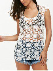 Backless Crochet Lace Floral Tunic Cover Up