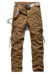 Buckle Embellished Zipper Pocekts Design Cargo Pants