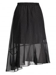 Polka Dot High Waist Midi Skirt - BLACK