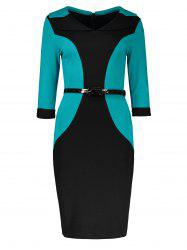 Belted Back Slit Two Tone Dress