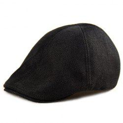 Plain Linen Fabric Ivy Hat - BLACK