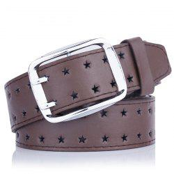 Hollow Out Stars Pin Buckle Wide PU Leather Belt