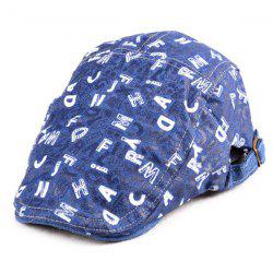 Denim Letters Pattern Flat Hat