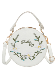Flower Embroidery Canteen Crossbody Bag -