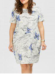 Plus Size Butterfly Ink Painting Linen Dress