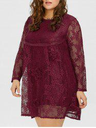A Line Lace Plus Size Dress