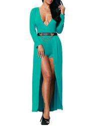Deep V Neck Cutout Slit Romper