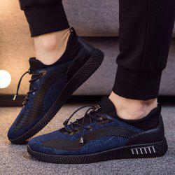 Line Printed PU Leather Casual Shoes