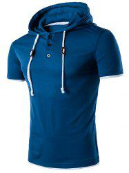 Draw String Buttons Hooded T-Shirt