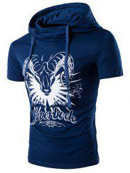 Hooded Sheep Head Printed T-Shirt