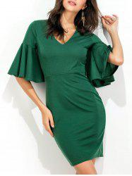 Flare Sleeve V Neck Bodycon Dress
