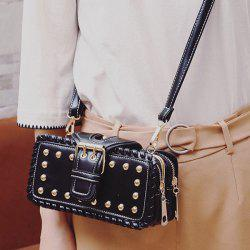 Whipstitch Cross Body Rivet Bag - BLACK