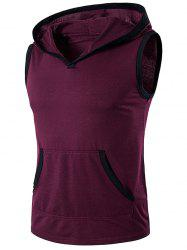 Hooded Pocket Sleeveless T-Shirt - WINE RED