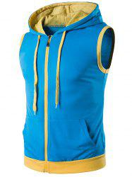 Hooded Zip Up Tank Top - BLUE